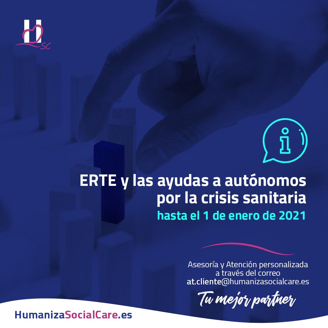 ERTE y las ayudas a autónomos por la crisis sanitaria hasta el 1 de enero de 2021