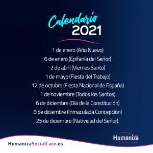 Publicado en BOE el Calendario Laboral 2021 en España